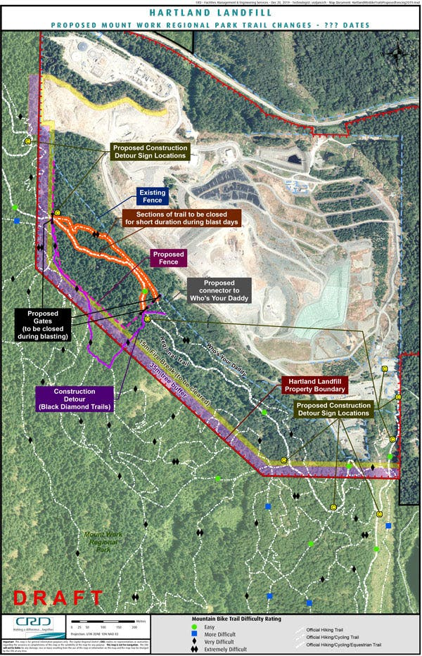Proposed changes to Hartland trail network