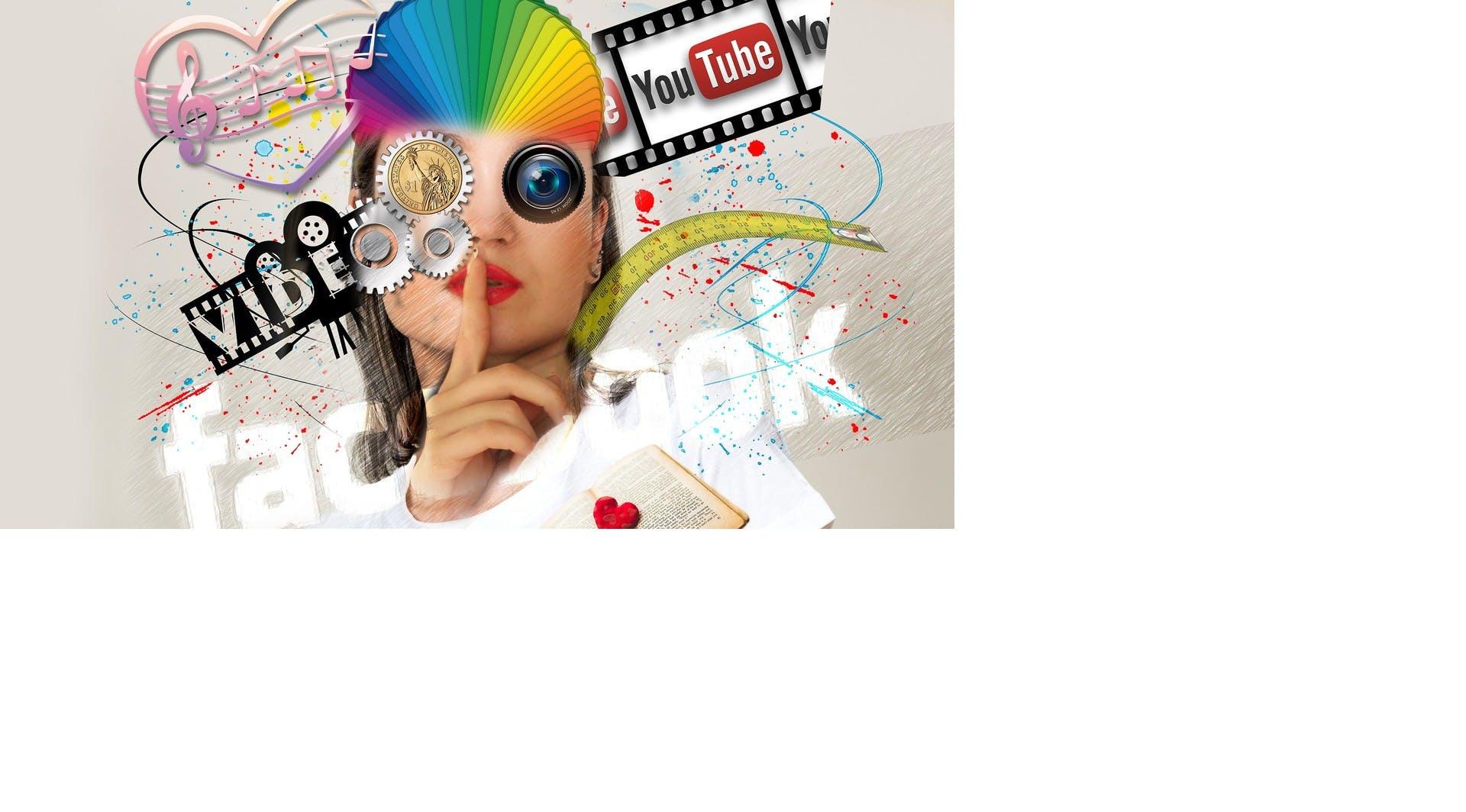 Olika sociala medier logo:r och en tjej i mitten