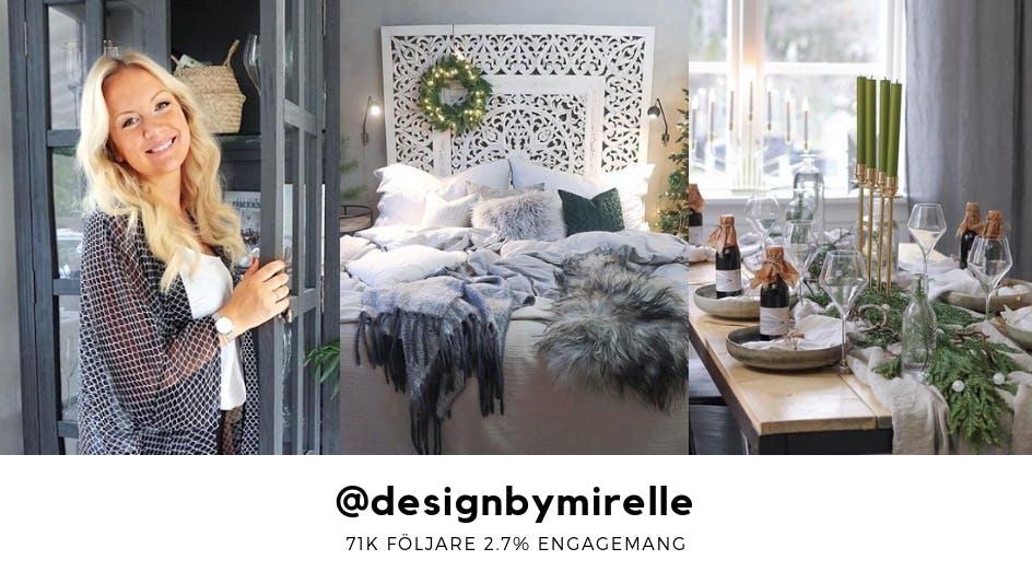 Mirelle Stoor visar upp sitt designarbete på ett matbord och sovrum