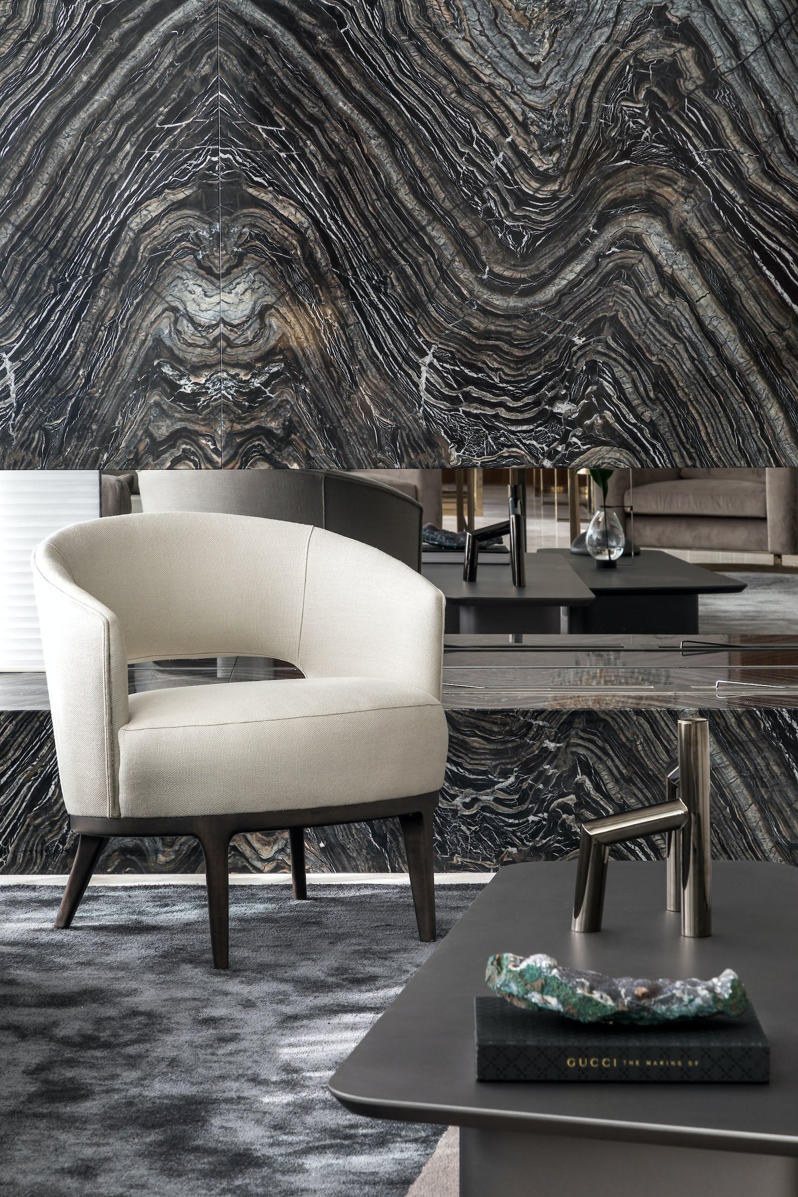 marmore nero madera living sala estar