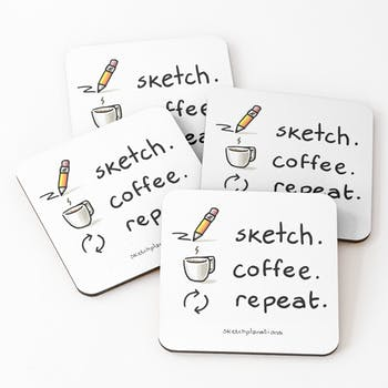 Drinks coasters of Sketch. Coffee. Repeat.