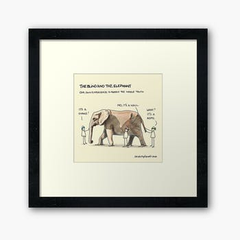 Framed print of The blind and the elephant sketchplanation
