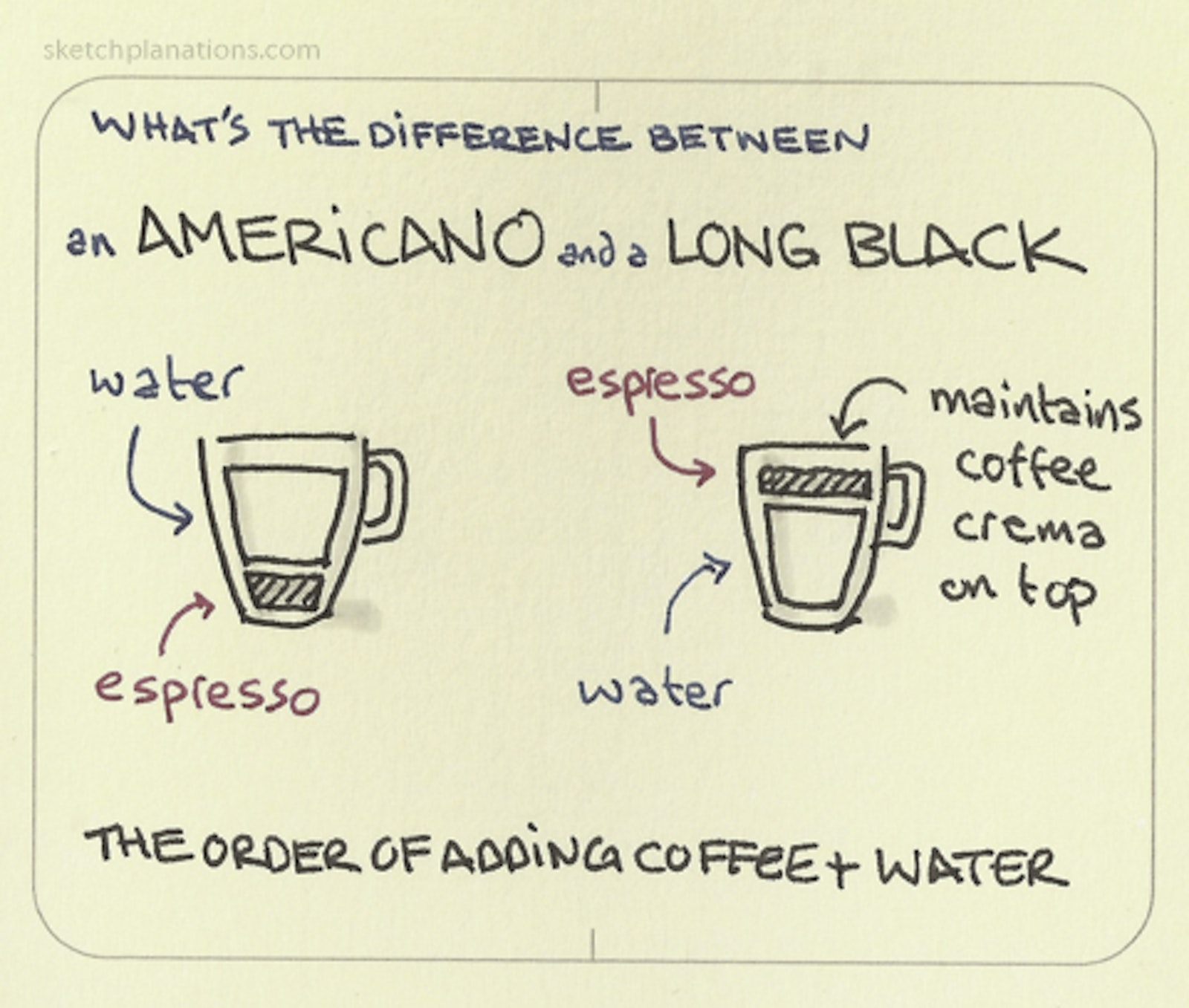 An Americano And A Long Black The Difference Sketchplanations