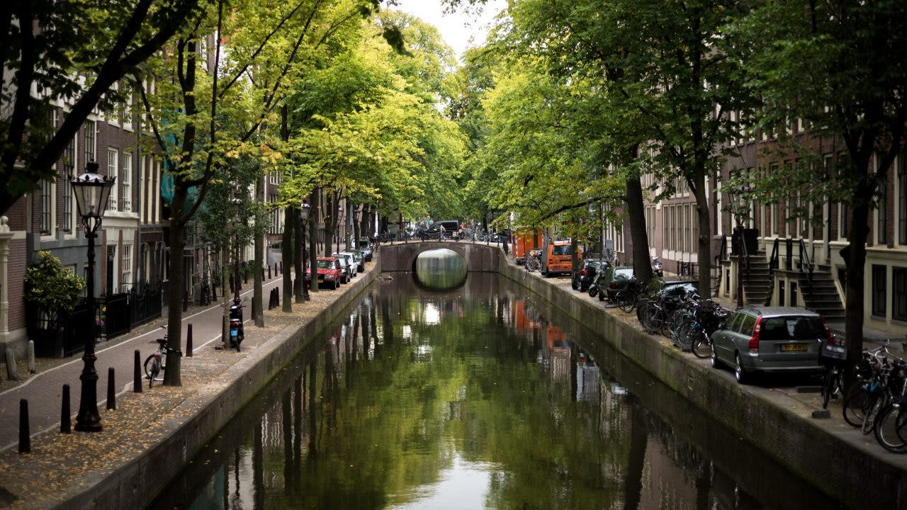 Canals of Amsterdam viewed from a bridge