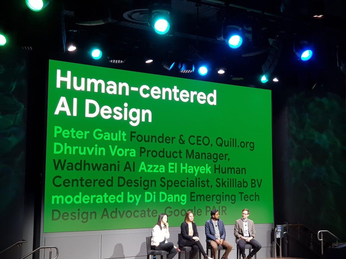 Skilllab's Azza El Hayek discussing Human-centered AI Design