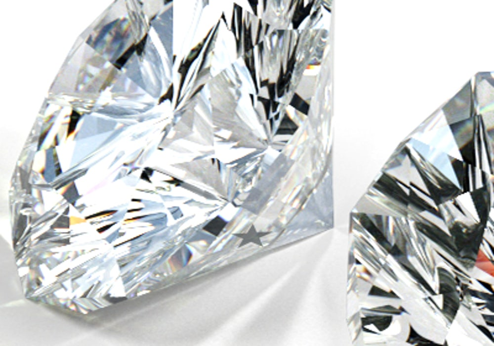 Close-up shot of brilliant, sparkling, high-quality Skydiamonds on a white background
