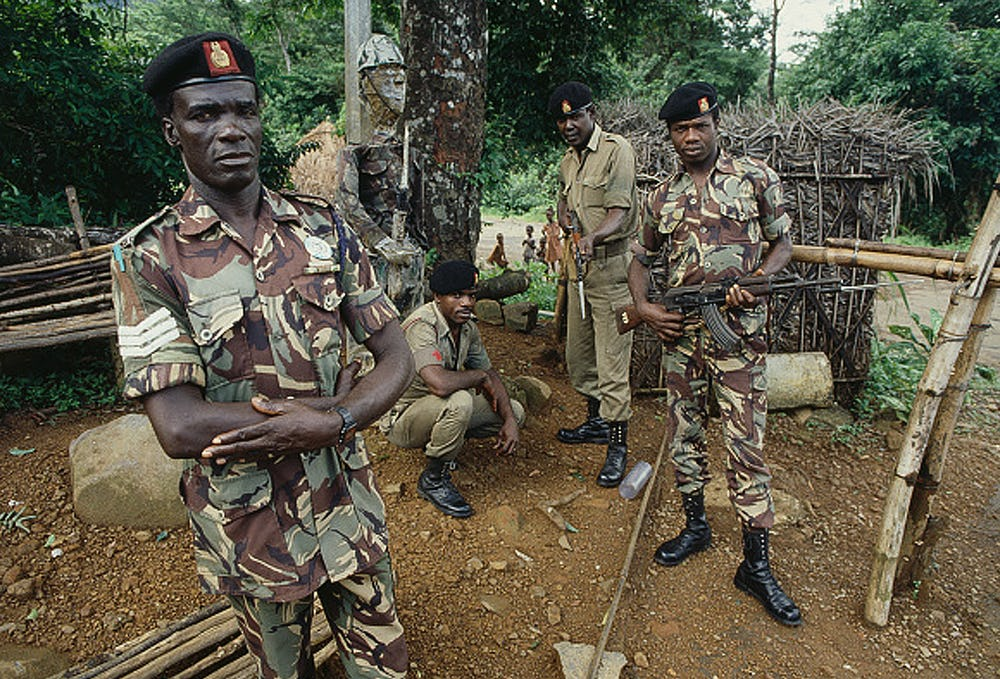 Soldiers with guns at a diamond mine in Africa, but Skydiamonds are created conflict-free
