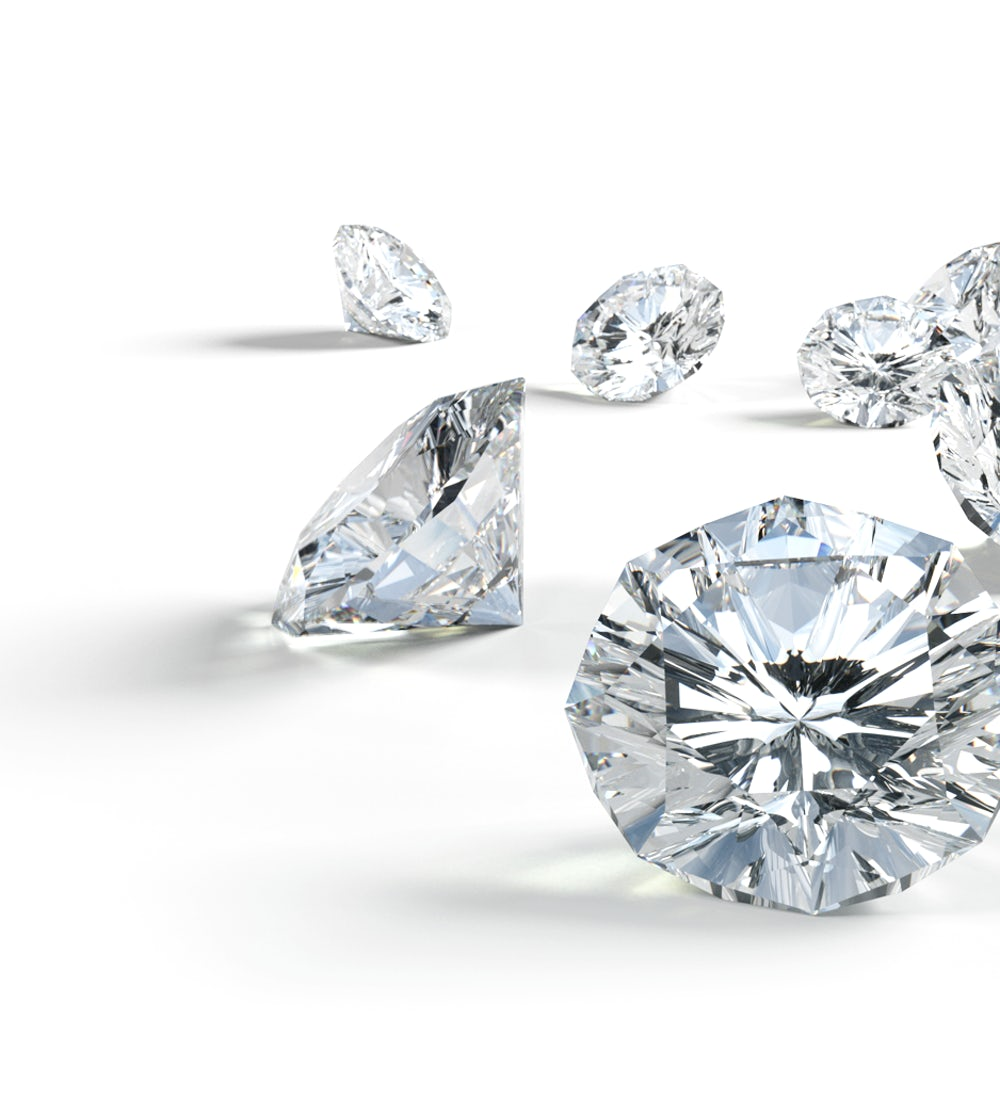 Close-up photo of seven clear and radiant Skydiamonds on a white background