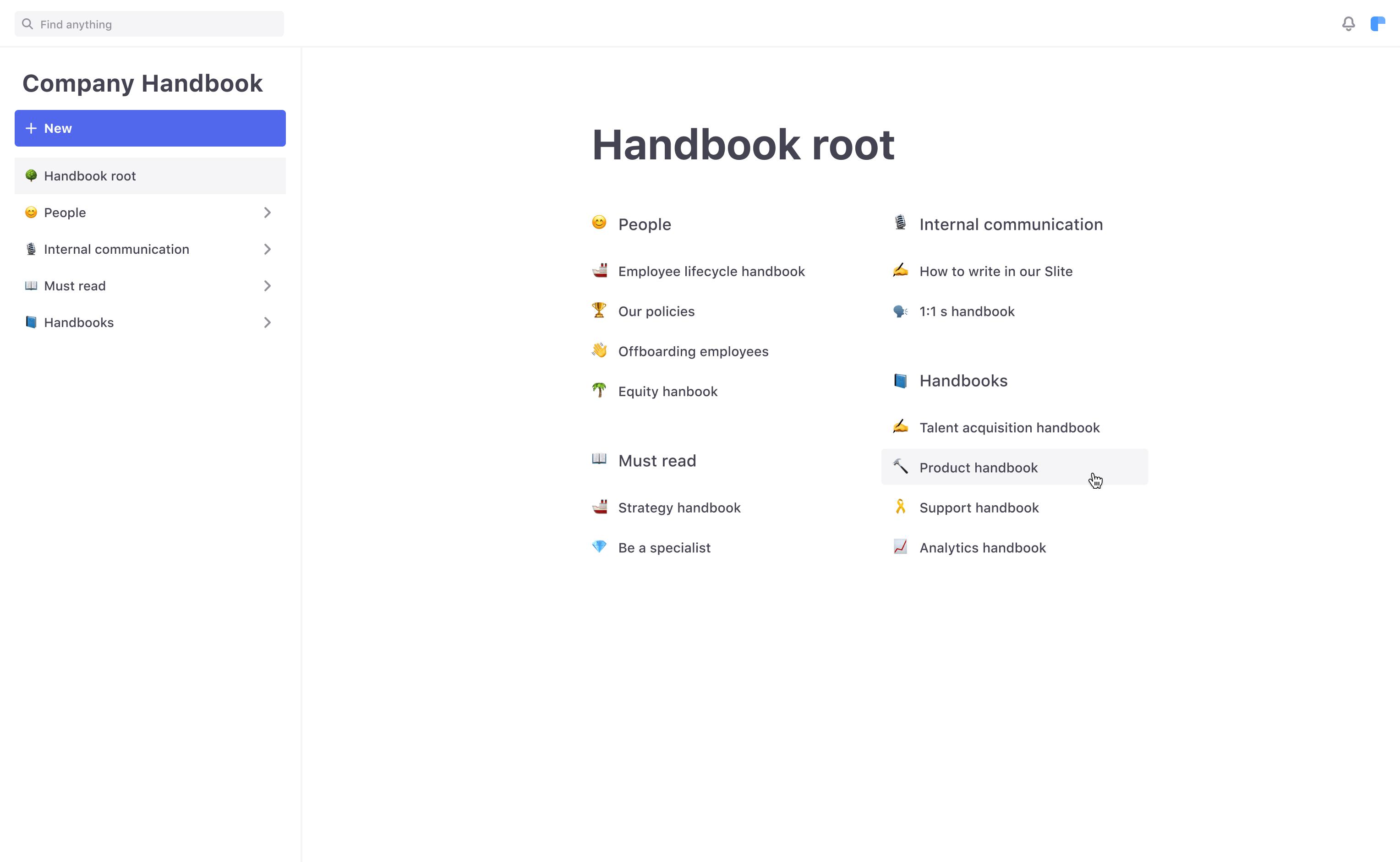 Screenshot of corporate wiki handbook