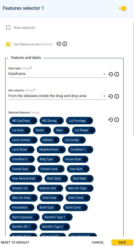 Feature Selector module's parameter