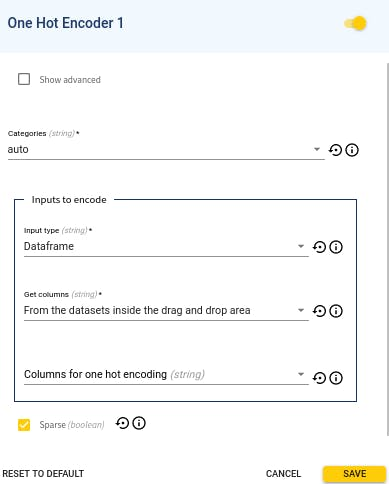 Default configuration of the module One Hot Encoder in deploy Tab