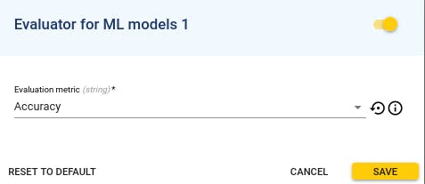 Evaluator for ML models configured with Accuracy metric