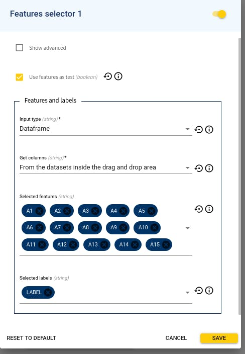 Feature selector's configuration