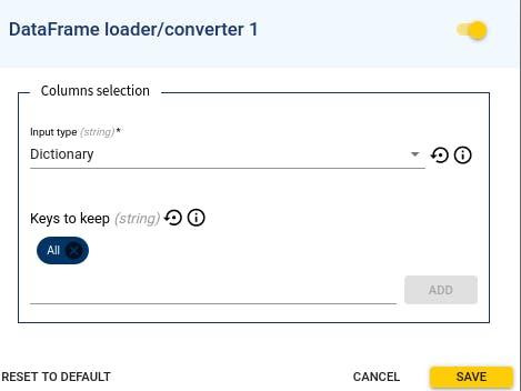 DataFrame loader/converter's configuration in deploy flowchart