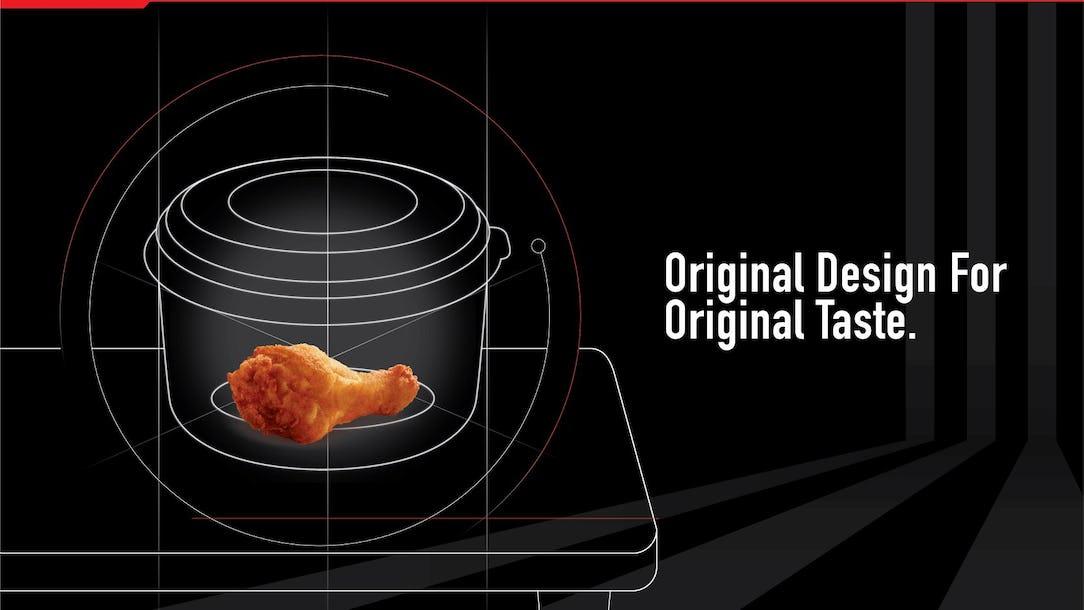 表面上,KFCecret Box 係一個食物盒,實際上,只要你買完KFC,放件雞入去,再冚埋蓋,根據能量守恆定律,雞件嘅原汁原味就更加容易被保留!