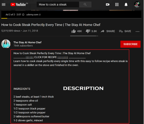 improve youtube video ranking with video descriptions