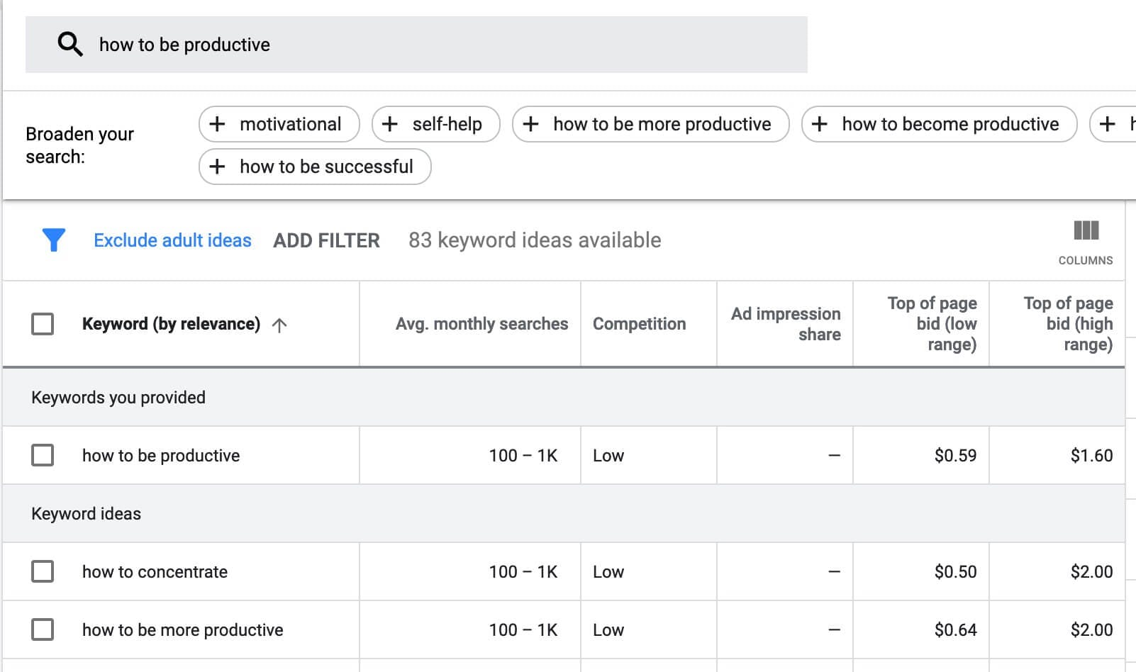 research youtube video keywords with google keyword planner