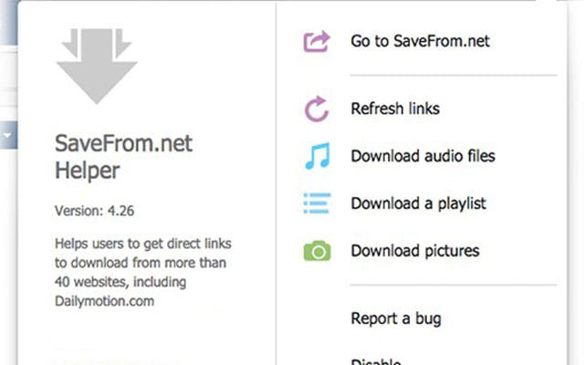 SaveFrom.net video downloader chrome extension