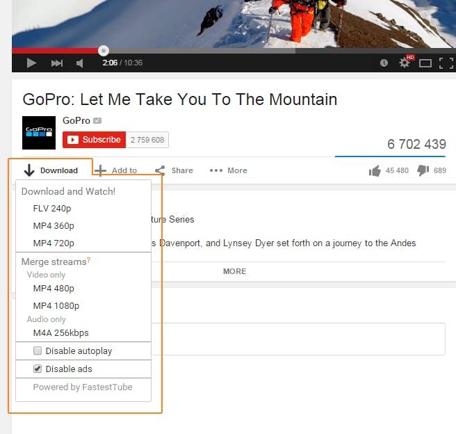 FastestTube youtube video downloader chrome extension