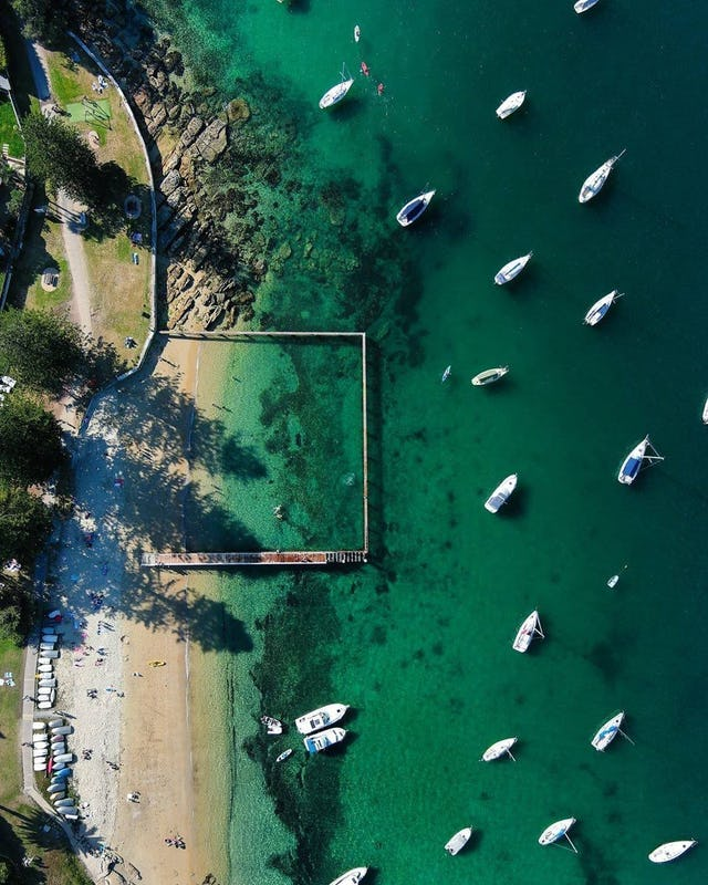 Aerial photography of Forty Baskets Beach in Manly