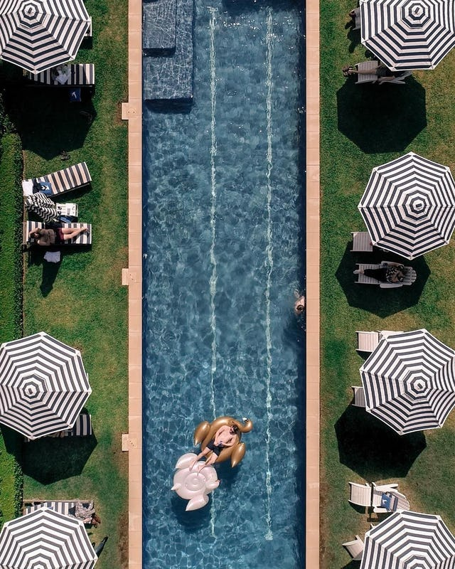 Poolside aerial  at Bells at Killcare in the Gosford area