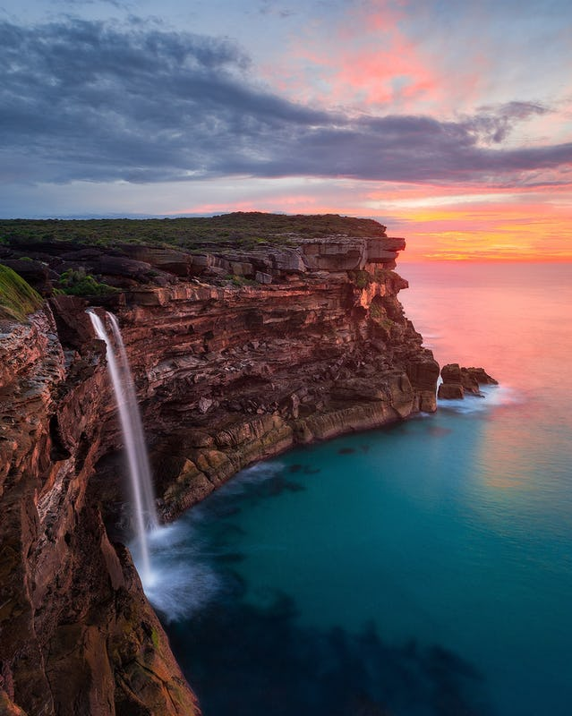 Sunrise at Curracurrong Falls and Eagle Rock in the Royal National Park Sydney.