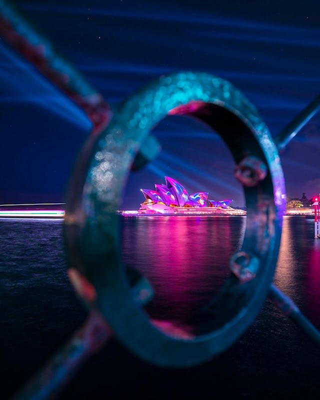 Light projection on Sydney Opera House taken during Vivid Sydney 2019