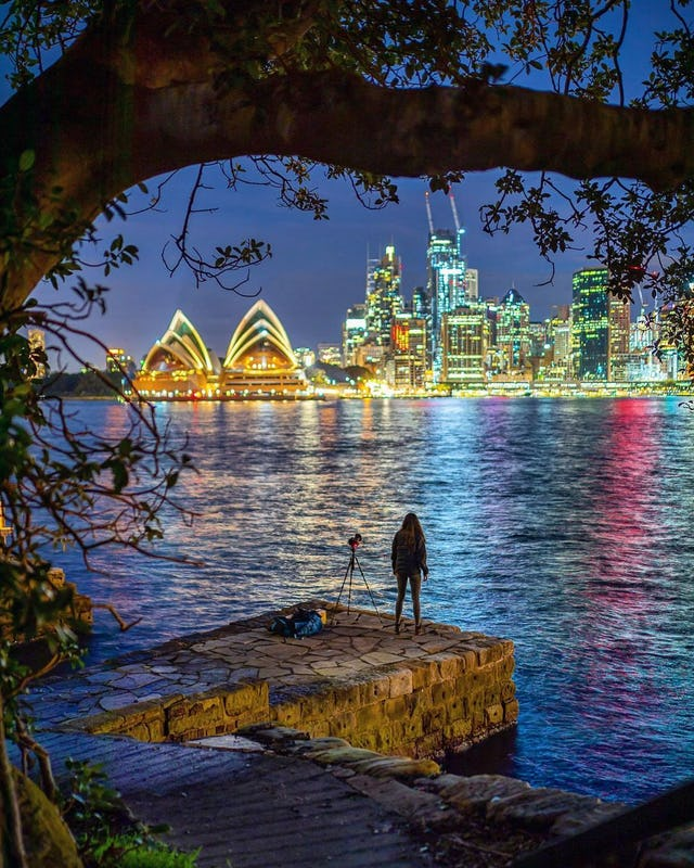 Sydney Harbour by night from Kirribilli