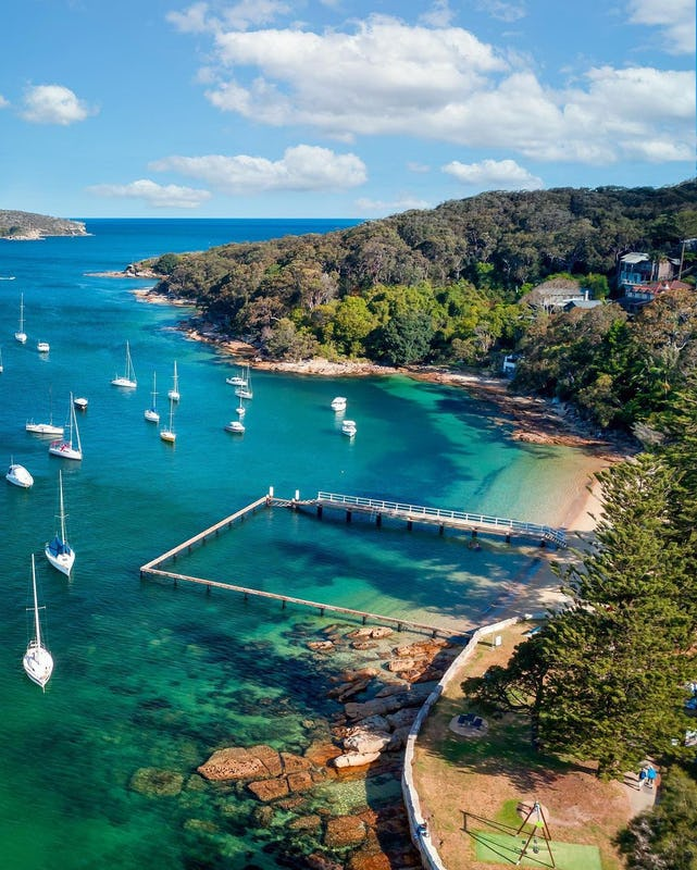 Aerial overlooking Forty Baskets Beach in Manly.