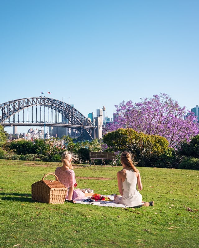 Wendy Whiteley's Secret Garden with Sydney Harbour Bridge backdrop