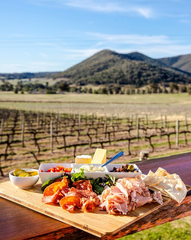 Food platter with scenic country views across the Moothi Estate vineyards, Mudgee.