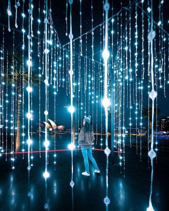 Vivid Sydney 2019 light installation 'Let It Snow'