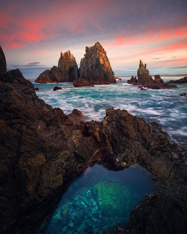 Rockpools in Bermagui captured at sunset on the Sapphire Coast