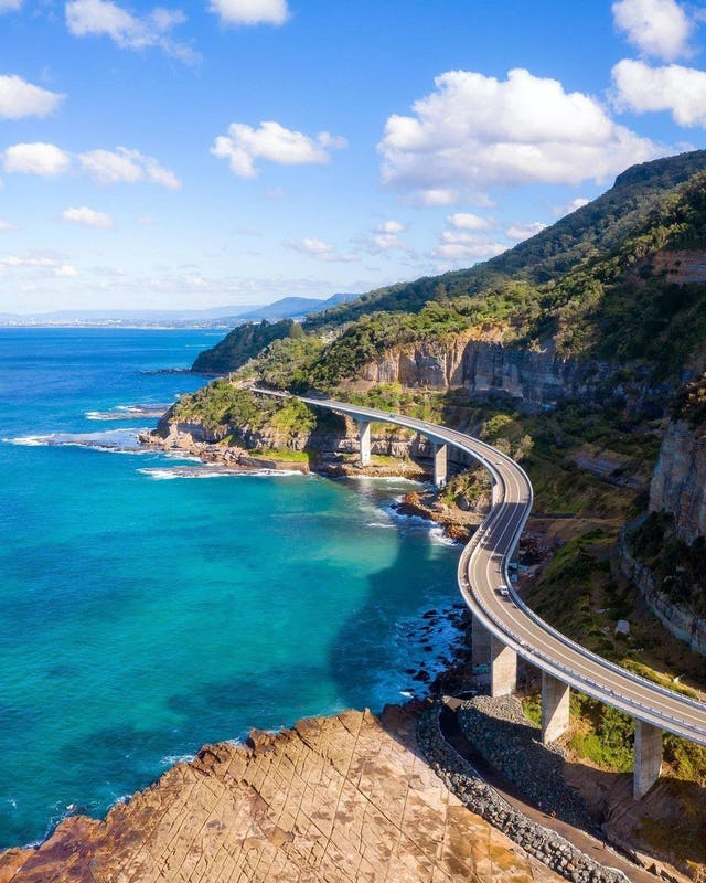 Sea Cliff Bridge from above