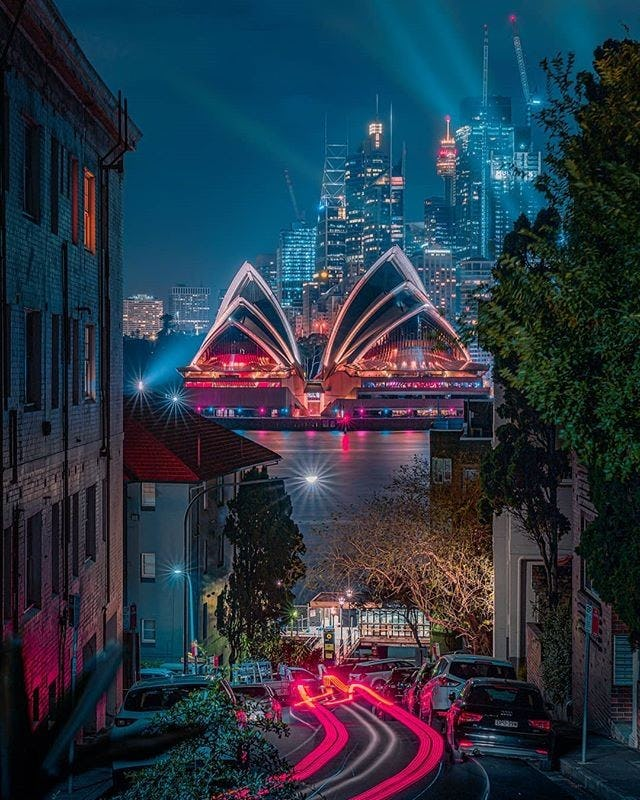 view of Sydney Opera House from Kirribilli during Vivid Sydney 2019.