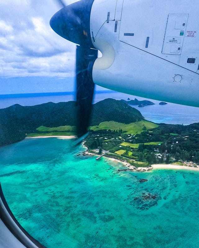 The view of Lord Howe Island from a plane window.