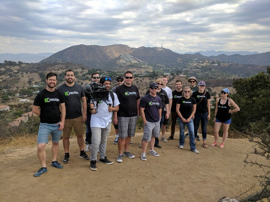 SoCreate end of summer trip 2017 group photo in front of Hollywood sign