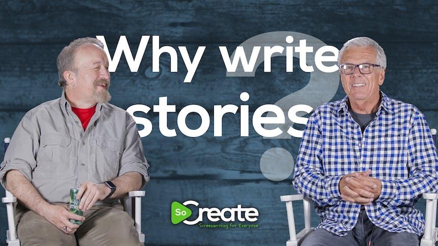 """Michael Stackpole y Peter Dunne delante de un gráfico que dice """"¿Por qué escribir historias?"""""""