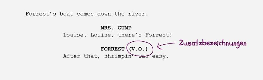 Die Grundlagen der Drehbuchformatierung Zusatzbezeichnungen