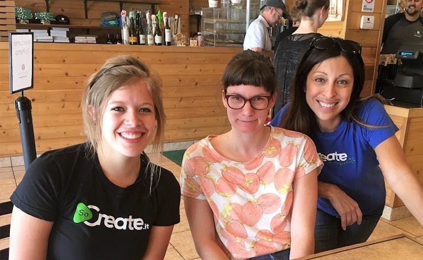 Few but mighty SoCreate ladies lunch alli Unger, Amber Black, and Rosa Couto