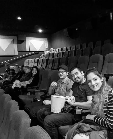 Some of the SoCreate Team are waiting for the movie to start.