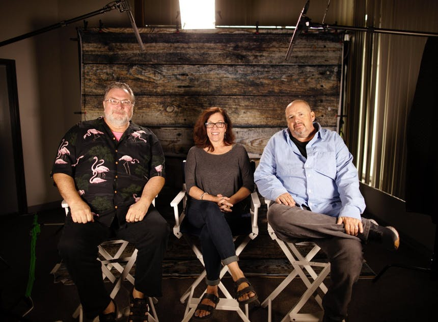 Author Jonathan Maberry, Editor Jeanne V. Bowerman, and Screenwriter Doug Richardson sit in director's chairs