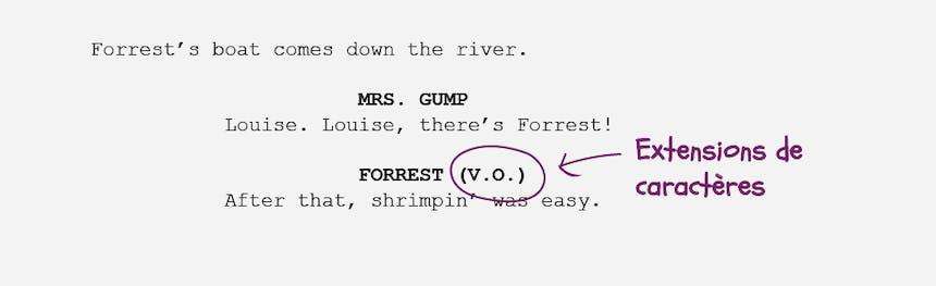 Les bases de la mise en forme du scénario: Extensions de caractères VO