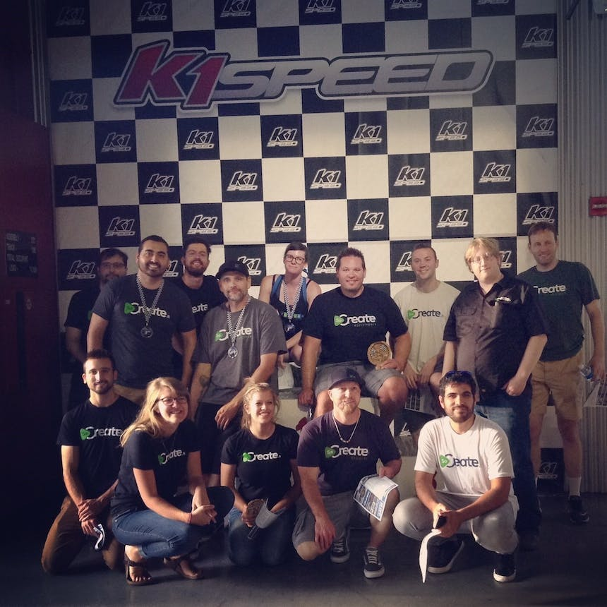 SoCreate end of summer trip 2017 team at K1 Speed Anaheim