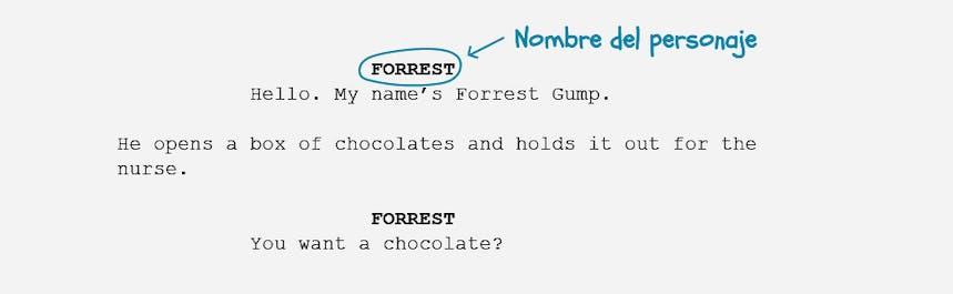 Los fundamentos del formato del guión: nombre del personaje