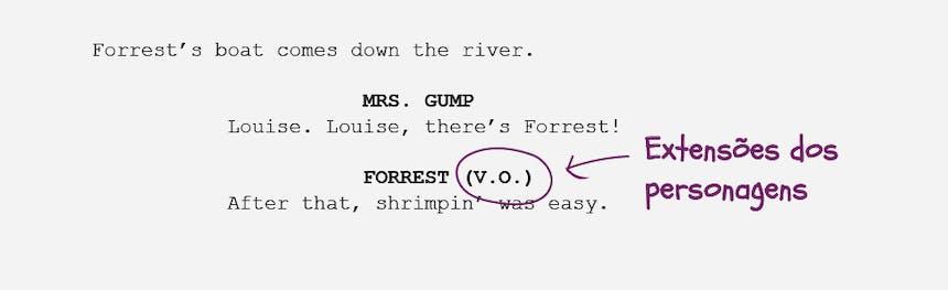 Guia básico da formatação de roteiros Extensões dos personagens