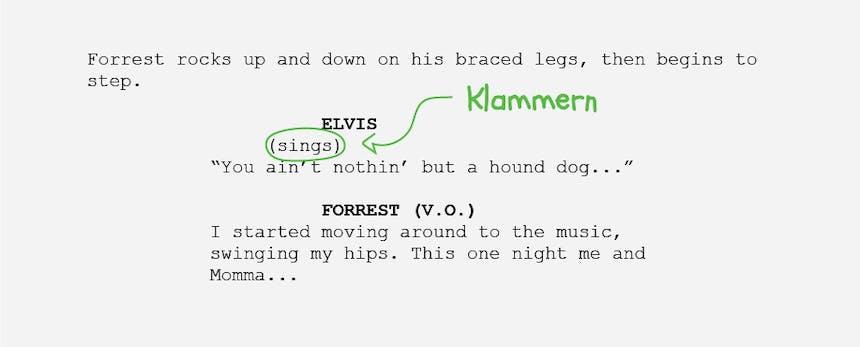 Die Grundlagen der Drehbuchformatierung Klammern