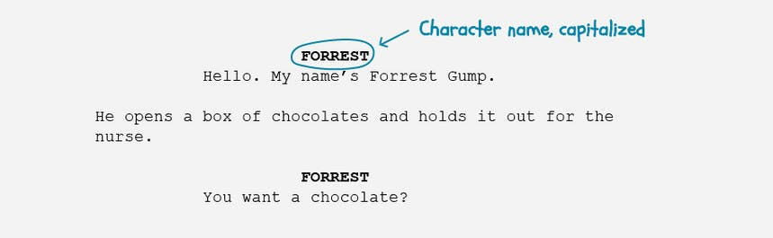 The basics of screenplay formatting - character name