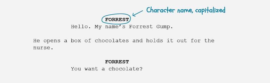 The basics of screenplay formatting - character name