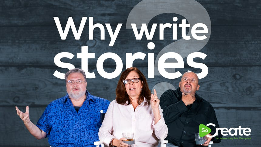 """Jonathan Maberry, Jeanne Bowerman, and Doug Richardson over a graphic that says """"Why Write Stories"""""""